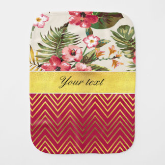 Chic Personalized Hibiscus and Chevrons Baby Burp Cloth