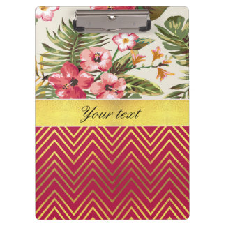 Chic Personalized Hibiscus and Chevrons Clipboard