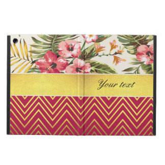 Chic Personalized Hibiscus and Chevrons iPad Air Cases
