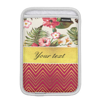 Chic Personalized Hibiscus and Chevrons Sleeve For iPad Mini