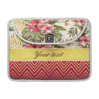 Chic Personalized Hibiscus and Chevrons Sleeve For MacBook Pro