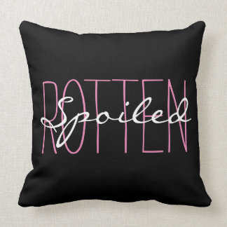 """CHIC PILLOW_GIRLY""""SPOILED ROTTEN"""" PINK/BLACK/WHITE CUSHION"""