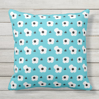CHIC PILLOW_MOD WHITE AND BLACK FLORAL ON AQUA CUSHION
