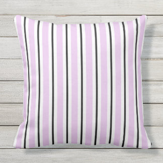CHIC PILLOW_MOD WHITE AND BLACK STRIPES ON LILAC OUTDOOR CUSHION
