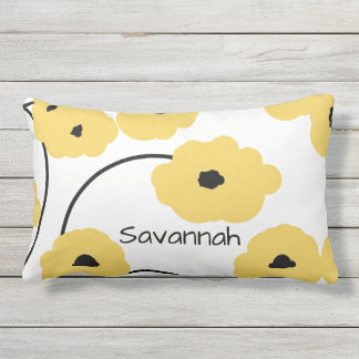 CHIC PILLOW_MOD YELLOW & BLACK POPPIES OUTDOOR CUSHION