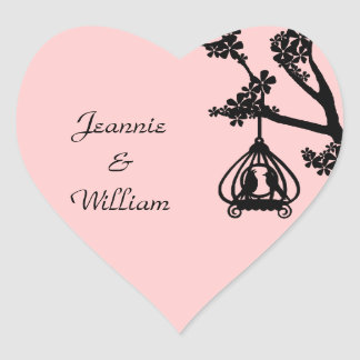 Chic Pink and Black Love Birds Heart Sticker