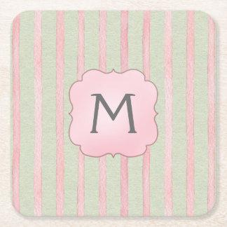 Chic Pink and Gray Stripe Monogram Square Paper Coaster