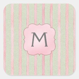 Chic Pink and Gray Stripe Monogram Square Sticker