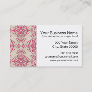 Off white business cards zazzle au chic pink and off white floral damask pattern business card colourmoves