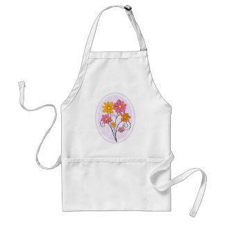 Chic pink and orange floral adult apron