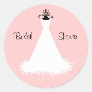 Chic Pink and White Bridal Shower Envelope Seal Round Sticker