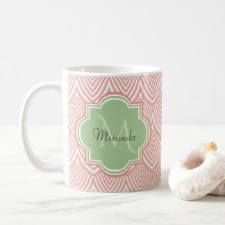 Chic Pink Arched Scallops Soft Green Monogram Name Coffee Mug