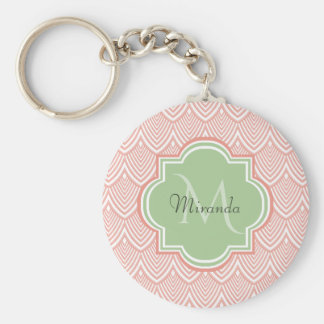 Chic Pink Arched Scallops Soft Green Monogram Name Key Ring