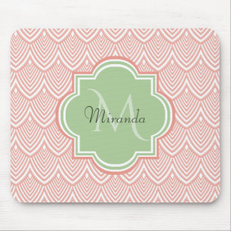 Chic Pink Arched Scallops Soft Green Monogram Name Mouse Pad