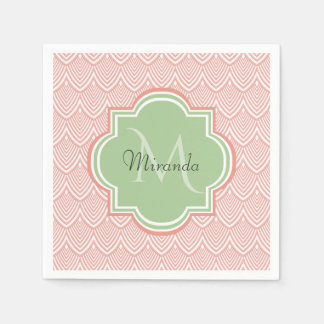 Chic Pink Arched Scallops Soft Green Monogram Name Paper Napkins