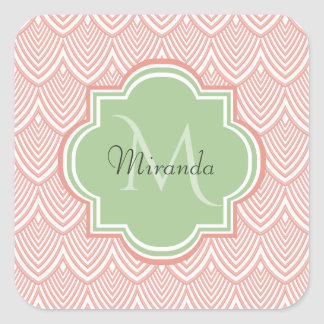 Chic Pink Arched Scallops Soft Green Monogram Name Square Sticker