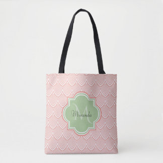 Chic Pink Arched Scallops Soft Green Monogram Name Tote Bag