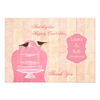 Chic pink bird cage, love birds Thank You Invitation
