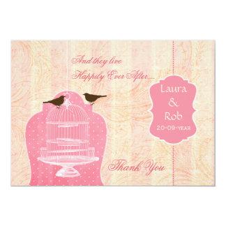 Chic pink bird cage, love birds Thank You 13 Cm X 18 Cm Invitation Card