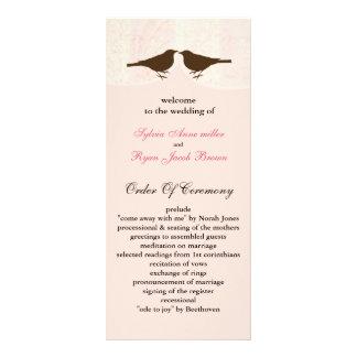 Chic pink bird cage, love birds wedding programs rack card