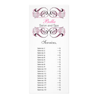 chic pink, black and white Services rack card