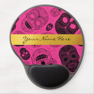 Chic Pink & Black Sugar Skulls with Gold Banner Gel Mouse Pad