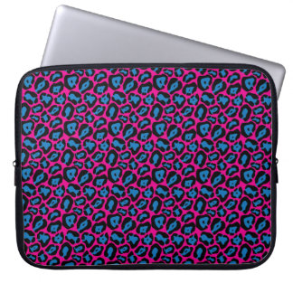 Chic Pink & Blue Leopard Print Laptop Sleeve
