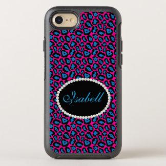 Chic Pink & Blue Leopard Print Monogram Case