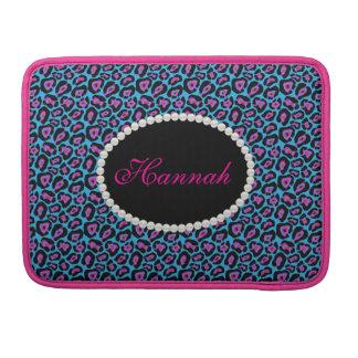 Chic Pink & Blue Leopard  Print Monogram Macbook Sleeve For MacBook Pro