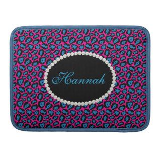 Chic Pink & Blue Leopard  Print Monogram Macbook Sleeve For MacBooks