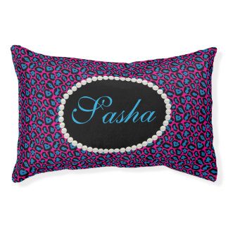 Chic Pink & blue Leopard Print Name Monogram Pet Bed