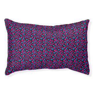 Chic Pink & blue Leopard Print Pattern Pet Bed