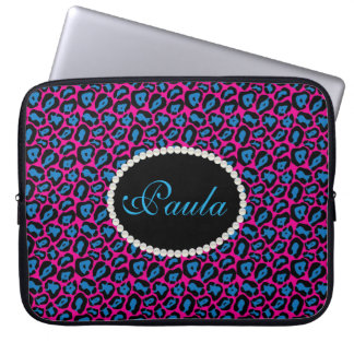 Chic Pink & Blue Leopard Print  With Monogram Laptop Sleeve
