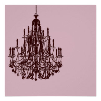 Chic Pink Chandelier Posters