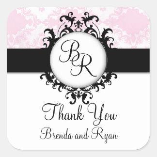 Chic Pink Damask Initial Thank You Wedding Sticker
