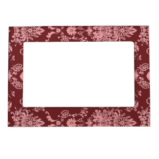 Chic Pink Damask on Deep Red Magnetic Frame