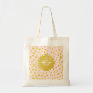 Chic pink faux gold glitter cheetah print monogram tote bag
