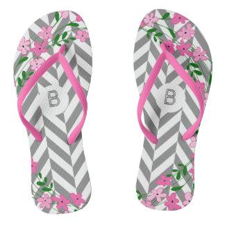 Chic Pink Floral Gray Herringbone Custom Monogram Thongs