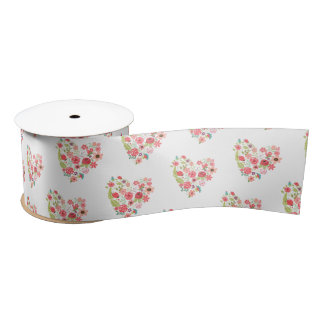 Chic Pink Floral Hearts Whimsical Girly Flowers Satin Ribbon