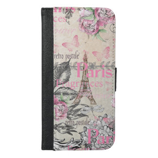 Chic pink floral Paris Eiffel Tower typography iPhone 6/6s Plus Wallet Case