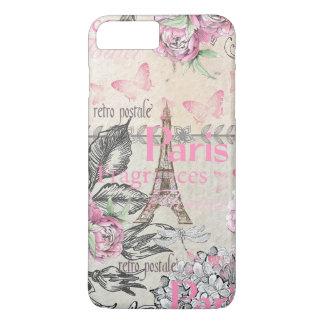 Chic pink floral Paris Eiffel Tower typography iPhone 8 Plus/7 Plus Case