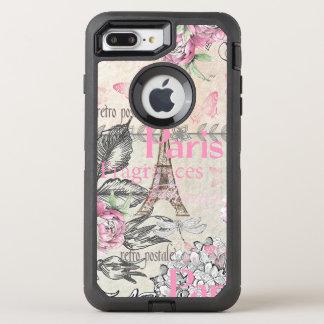 Chic pink floral Paris Eiffel Tower typography OtterBox Defender iPhone 8 Plus/7 Plus Case