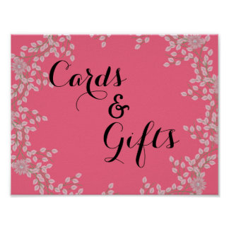 Chic Pink Floral & Pearls Wedding Cards & Gifts Poster