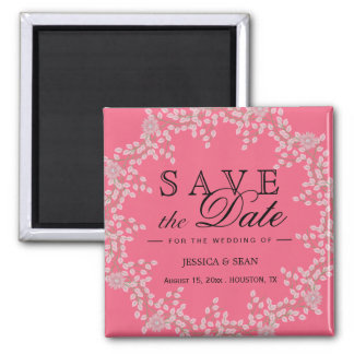 Chic Pink Floral & Pearls Wedding Save The Date Magnet
