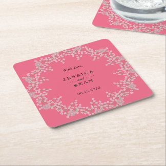 Chic Pink Floral & Pearls Wedding Square Paper Coaster