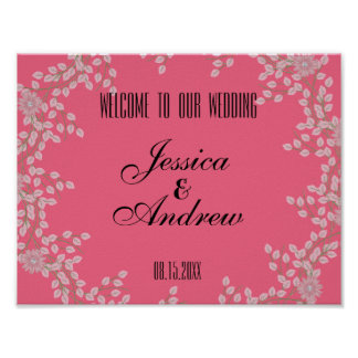 Chic Pink Floral & Pearls Wedding Welcome Poster