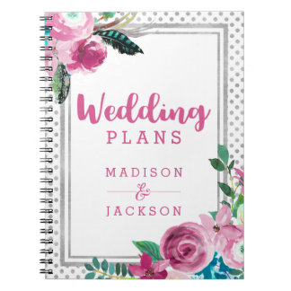 Chic Pink Floral & Silver Dots Wedding Planner Notebook