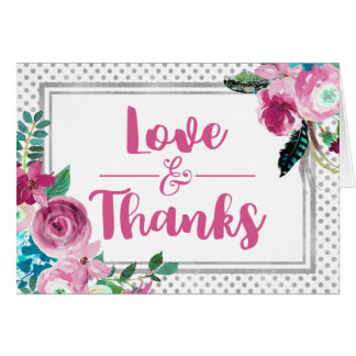 Chic Pink Floral & Silver Dots Wedding Thank You Card