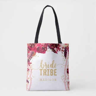 Chic Pink Floral Stripes Gold Confetti Bride Tribe Tote Bag