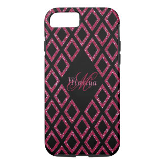Chic Pink Glitter With Name And Monogram iPhone 8/7 Case